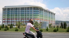 Motorcyclist near Hotel Tulip Inn In Sochi, Russia. Stock Footage