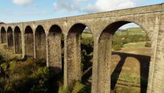 Aerial shot of Hewenden viaduct, Cullingworth, Bradford West Yorkshire Stock Footage