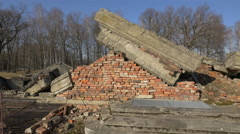 Stock Video Footage of The ruins of Crematorium III at Auschwitz