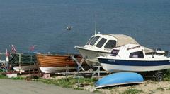 Boats at Robin Hood Bay Stock Footage