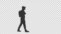 Silhouette of a young man walking, Full HD footage with alpha channel - stock footage