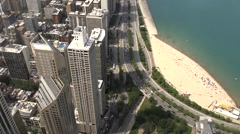 Downtown Chicago, Illinois Skyline From Above Stock Footage