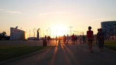 Tourists in Olympic park and sunset In Sochi, Russia. Stock Footage