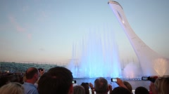 Tourists shoot singing fountain in Olympic park. Stock Footage