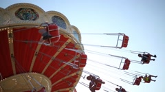 Happy children on carousel In Sochi, Russia. Stock Footage
