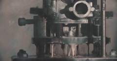Rotating head with drilling machine bits and tools Stock Footage