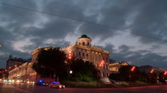 Pashkov House at twilight Stock Footage