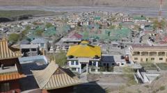 Kazaa town and monastary from above,Kaza,Spiti,India Stock Footage