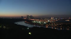 Night time panorama of Moscow from Vorobyovy Hills fast Stock Footage