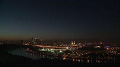 Night time panorama of Moscow from Vorobyovy Hills Stock Footage