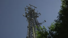 Cell phone and radio communication tower 04 Stock Footage