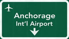 Anchorage USA International Airport Highway Road Sign - stock illustration