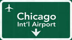 Stock Illustration of Chicago O'Hare USA International Airport Highway Road Sign
