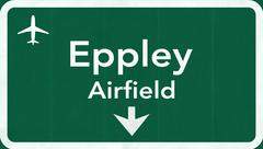 Omaha Eppley Airfield USA International Airport Highway Road Sign - stock illustration
