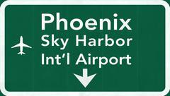 Stock Illustration of Phoenix Sky Harbor USA International Airport Highway Road Sign