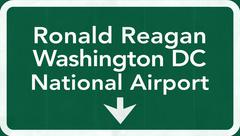 Stock Illustration of Washington DC Ronald Reagan USA Airport Highway Road Sign 2D Illustration