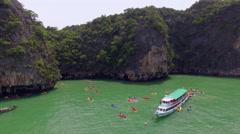 People kayaking in the sea, aerial shot Stock Footage