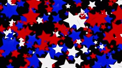 Flaying stars in red,blue and white on black Stock Footage