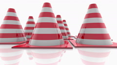 Traffic cones with red stripes on white Stock Footage