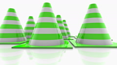 Traffic cones with green stripes on white Stock Footage