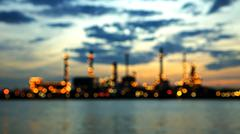 Bokeh of Bangchak Oil Refinery at sunrise in Bangkok - stock photo