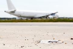 lights on taxiway in the concrete - stock photo