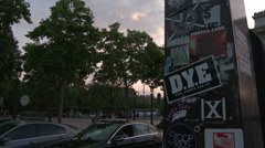Pan from Street Stickers to Arc de Triomphe - stock footage