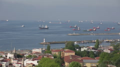 Ships stand on an anchor in the Sea of Marmara, Istanbul Stock Footage