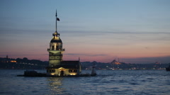 Maiden tower in Istanbul on a sunset, Turkey - stock footage