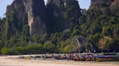 Traditional Thai Boats at the Beach of Krabi Province Stock Footage