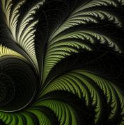 leaf of fern, fractal - stock illustration