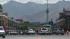 Streets of Lhasa Tibet, next to Potala Palace Stock Footage