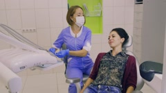 Dentists are prepared to work with the patient Stock Footage