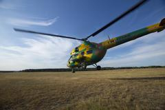 Helicopter in peacetime. - stock photo