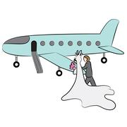 Cartoon Newlyweds Going On Honeymoon - stock illustration