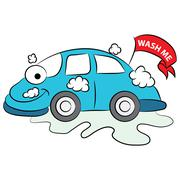 Cartoon Car Being Washed - stock illustration