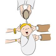 Child Being Baptized Cartoon - stock illustration