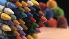 Slow Pan of Muti Colored Crayons Stock Footage