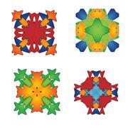 Set of abstract flower feminine pattern textiles Stock Illustration