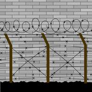 Barbed Wire Fence Stock Illustration