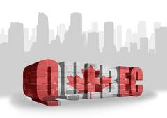 text Quebec with national flag of canada - stock illustration
