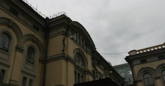 The upper cornice of Kyiv Opera Building in Kiev City Center National Opera of Stock Footage