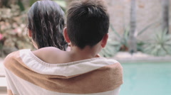 Sibling wrapped in towel Stock Footage