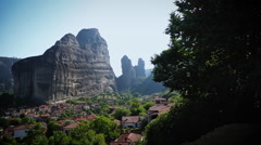 Rock Formation over Village in Greece Stock Footage