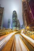 Modern city streets and office buildings Hong Kong, China. Stock Photos