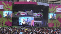 PANAMANIA Celebration at Nathan Phillips Square in the evening Stock Footage