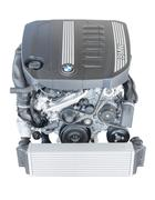 Modern powerful flagship model of BMW TwinPower turbo diesel engine - stock photo