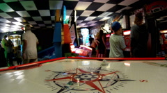 Arcade games people memorable inspiring experience pleasure Stock Footage