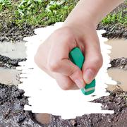 Hand deletes mud from image of bad country road Stock Photos
