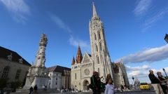 People visiting the Matthias Church in Budapest Stock Footage